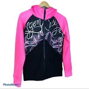 OXYGEN pink black graphic full zip hoodie